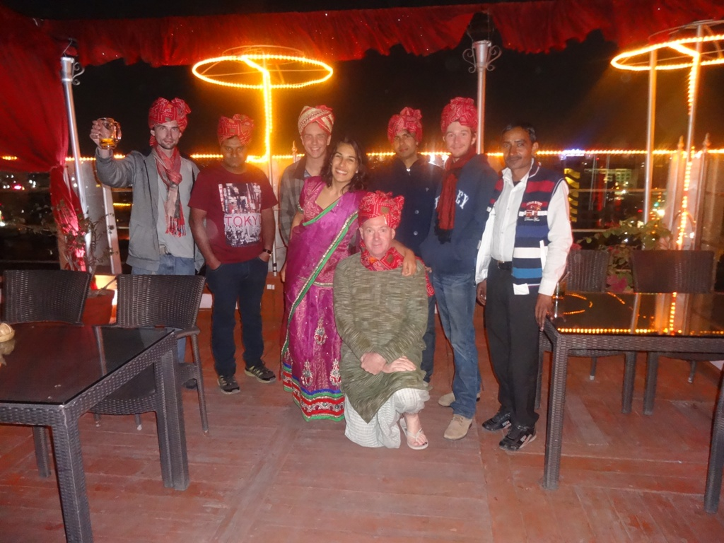 Party in Jaipur with traditional turban